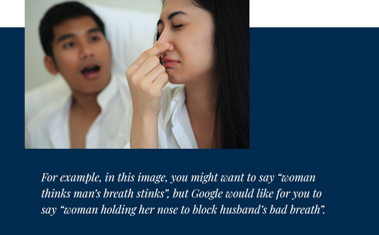 to help understand ALT Tags on images - woman holding her nose to block husband's bad breath